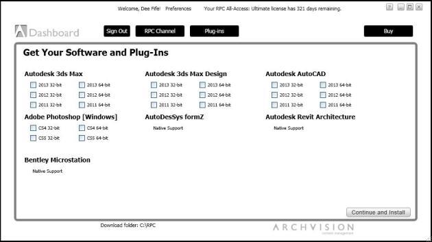 ArchVision Dashboard RPC Plug-ins Tab