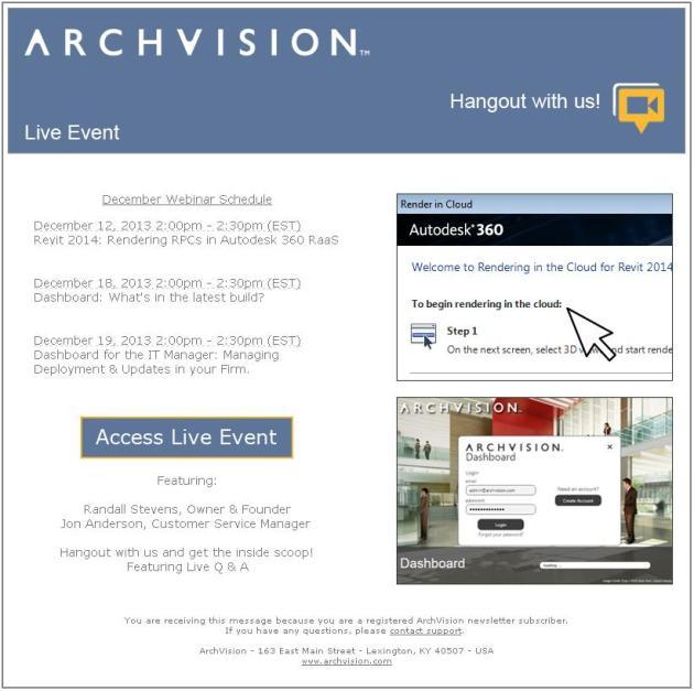 ArchVIsion December Webinars